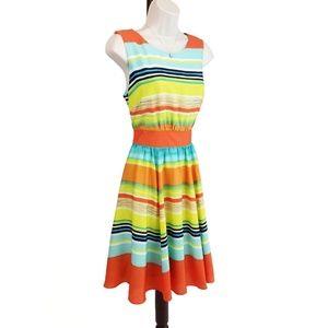 J. Taylor dress striped blue orange yellow 8